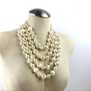 Oversized Tiered Pearlescent Statement Necklace